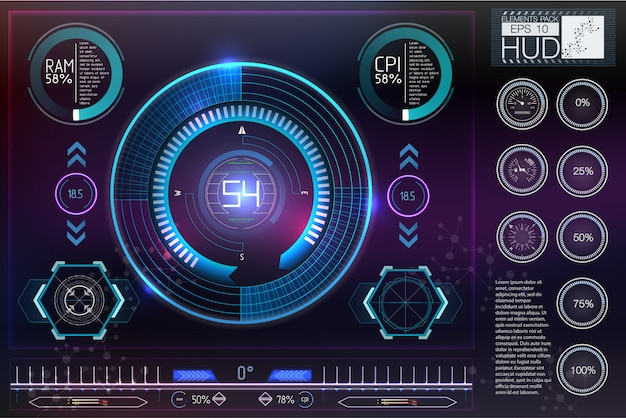 Hud do kasków sci-fi. future technology display design.