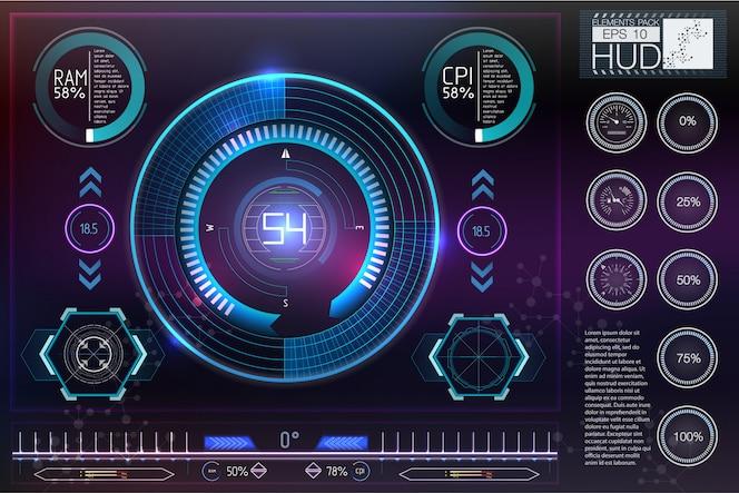 Hud do kasków sci-fi. future technology display design.