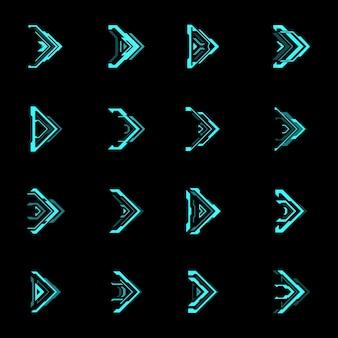 Hud futurystyczne strzałki i wskaźniki nawigacyjne. niebieskie kursory strzałek z neonem