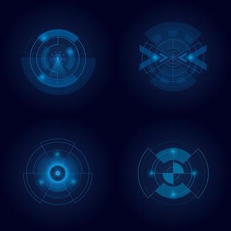 Hud futurystyczny element na białym tle na ciemnym tle. zaawansowany interfejs użytkownika. streszczenie wirtualny cel. ilustracja.