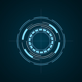 Hud futurystyczny element na białym tle na ciemnym tle. zaawansowany technicznie interfejs użytkownika. abstrakcyjny wirtualny cel