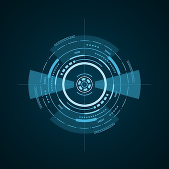 Hud futurystyczny element na ciemnym tle. zaawansowany technicznie interfejs użytkownika. streszczenie wirtualny cel, ilustracja
