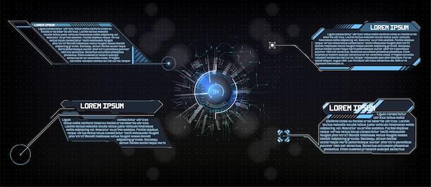 Hud gui futurystyczny wyświetlacz hitech technika i analiza naukowa cyfrowy