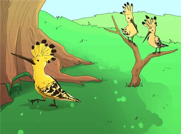 Hud hud ptaki w zielonej łąkowej ilustraci