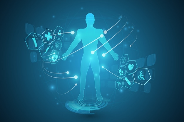 Hud interfejs wirtualnego hologramu przyszłości system opieki zdrowotnej innowacji koncepcji