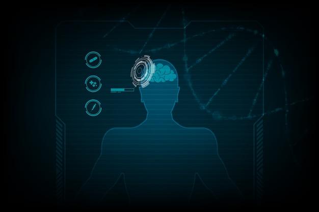 Hud interfejs wirtualnego hologramu przyszłości system opieki zdrowotnej innowacji tła