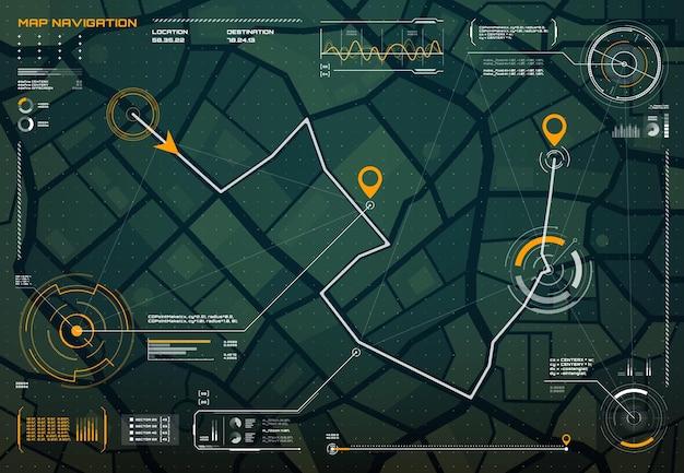 Hud nawigacyjny interfejs ekranu mapy miasta kompas;