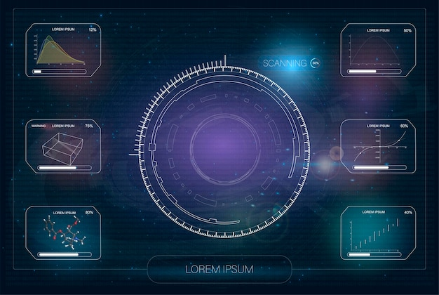Hud. nowoczesny, futurystyczny wyświetlacz. technika i nauka, temat analizy.