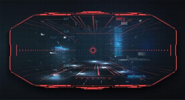 Hud, nowoczesny system celowania gui. futurystyczny projekt wyświetlacza vr head-up. statek kosmiczny, dron, kask, celownik, cel.