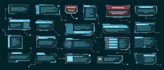 Hud objaśnienie futurystyczne pola tekstowe cyfrowe etykiety barowe szablon ramki informacyjnej