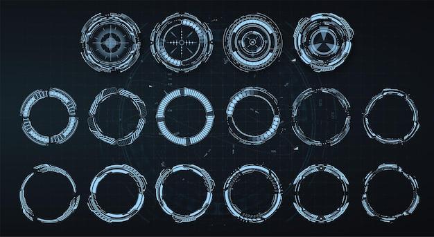 Hud otacza futurystyczny element. zestaw futurystyczny interfejs użytkownika technologii cyfrowej koło streszczenie.