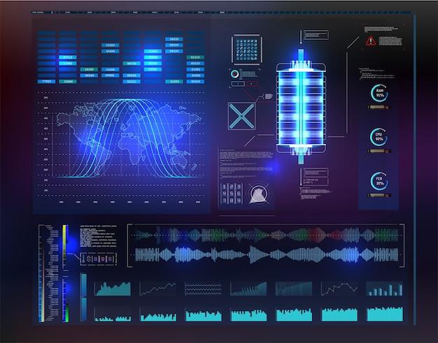 Hud ui app. futurystyczny interfejs użytkownika hud i elementy plansza.