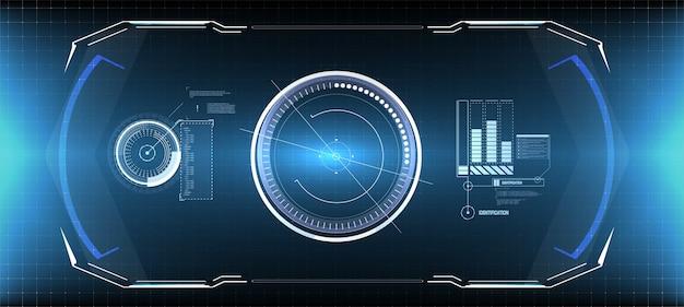 Hud ui gui futurystyczny zestaw elementów ekranu interfejsu użytkownika. ekran high-tech do gier wideo. koncepcja science-fiction.