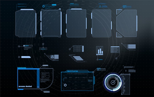 Hud, ui, gui futurystyczny zestaw elementów ekranu interfejsu użytkownika ramki.