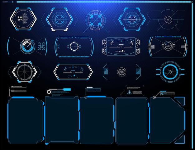 Hud ui gui futurystyczny zestaw elementów ekranu interfejsu użytkownika