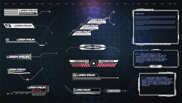 Hud, ui, gui futurystyczny zestaw elementów ekranu interfejsu użytkownika.