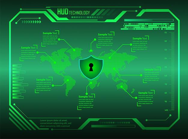 Hud zielonego świata cyber obwodu technologii przyszłości tło