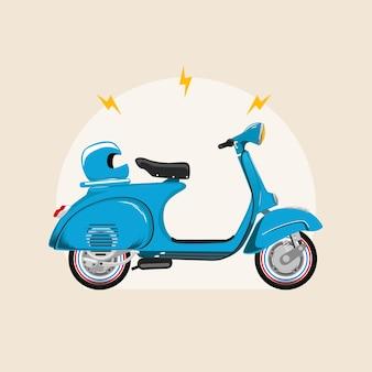 Hulajnoga cykl motocykli niebieski vintage