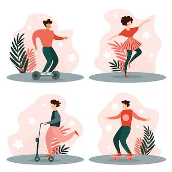 Hulajnoga i deskorolka, dziewczyna tańczy