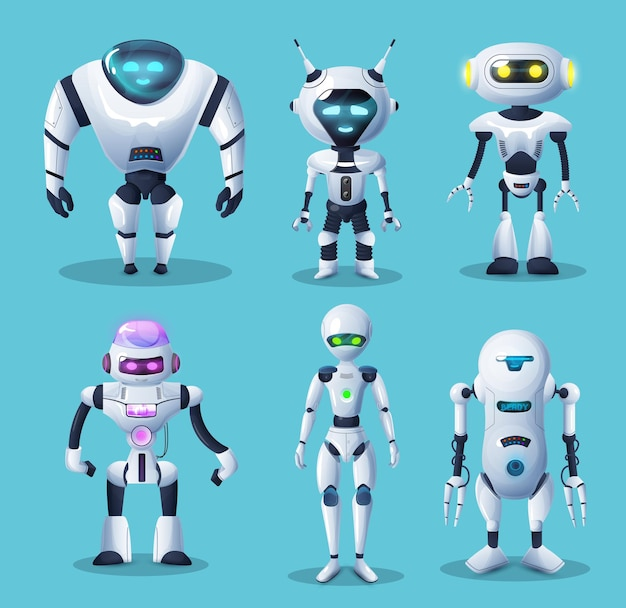 Humanoidalne roboty i androidy, cyborg, zabawki czy boty, maszyny sztucznej inteligencji.