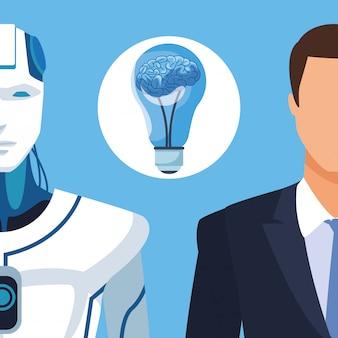 Humanoidalny robot i biznesmen
