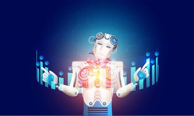 Humanoidalny robot lub cyborg działający.