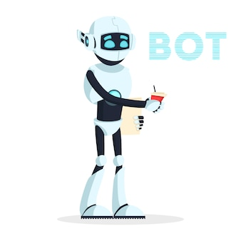 Humanoidalny robot stojący i trzymający kubek z napojem, kawą. android odpoczywa, szuka nowej pracy lub doładowuje, przywraca moc. maszyna antropomorficzna to kelner, kelner. kreskówka.