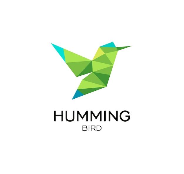 Hummig ptak geometryczny znak calibri streszczenie wielokątne wektor logo szablon origami zielony kolor niski