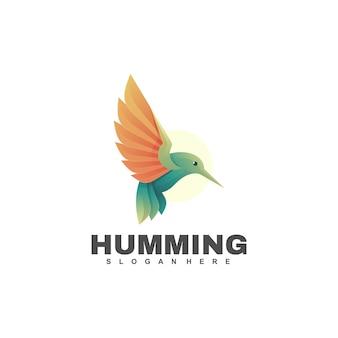 Humming bird gradientowe kolorowe logo w stylu