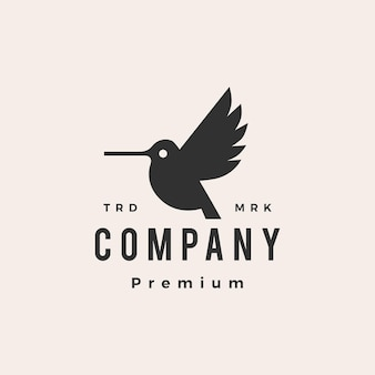 Hummingbird colibri hipster vintage logo szablon