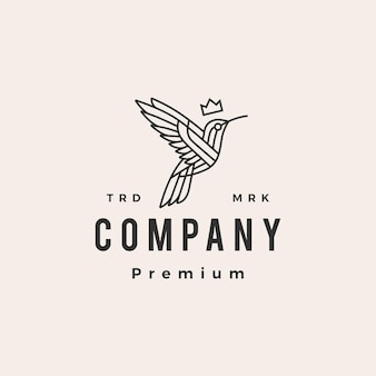 Hummingbird king monoline hipster vintage logo szablon