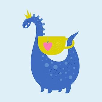 Humor dinozaur z kubkiem