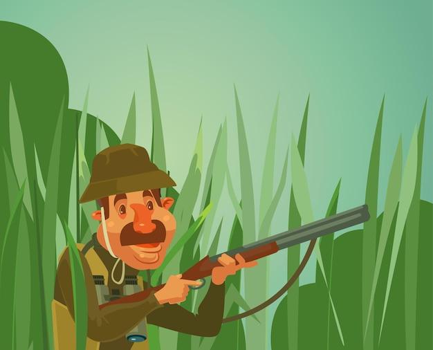 Hunter człowiek charakter polowanie kaczki ilustracja kreskówka