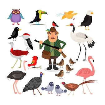 Hunter trzyma strzelbę. zestaw ilustracji ptaków