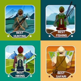 Hunting hking 4 płaskie ikony placu