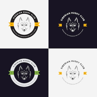 Husky head płaskie logo zestaw wektorowych. zestaw elementów zabytkowych i logotypów dla domowych sklepów, domów dla zwierząt domowych, zwierząt i zwierząt egzotycznych.