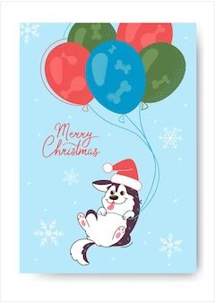 Husky w kapeluszu kartka bożonarodzeniowa świętego mikołaja