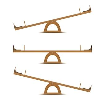 Huśtawka lub drewniana skala równowagi