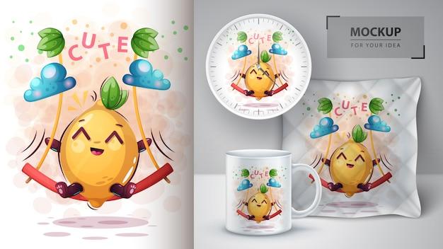 Huśtawka plakat zdrowia cytryny i merchandising
