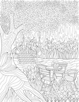 Huśtawka pod wysokim drzewem obok stołu z czterema krzesłami bezbarwny rysunek linii relaksujący na świeżym powietrzu