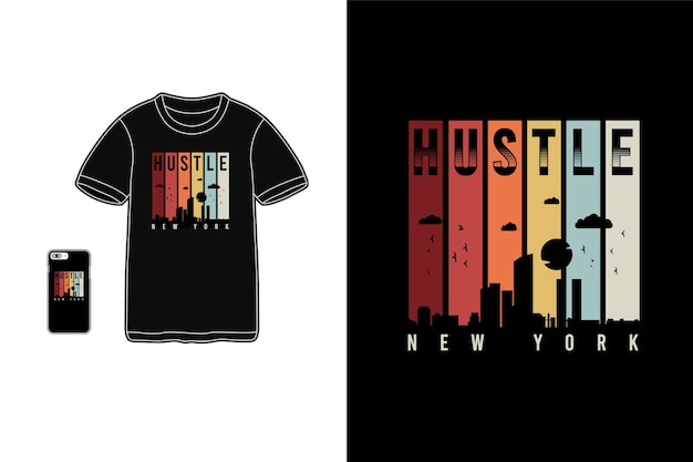 Hustle new york, t-shirt merchandise siluet makieta typografia