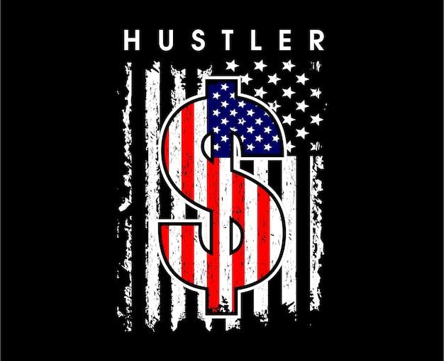Hustler flaga ameryki motywacyjny inspirujący cytat typografia t shirt projekt graficzny wektor