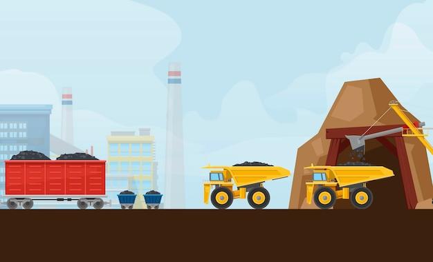 Hutnictwo węgla kamiennego z ciężarówkami sprzętu transportowego