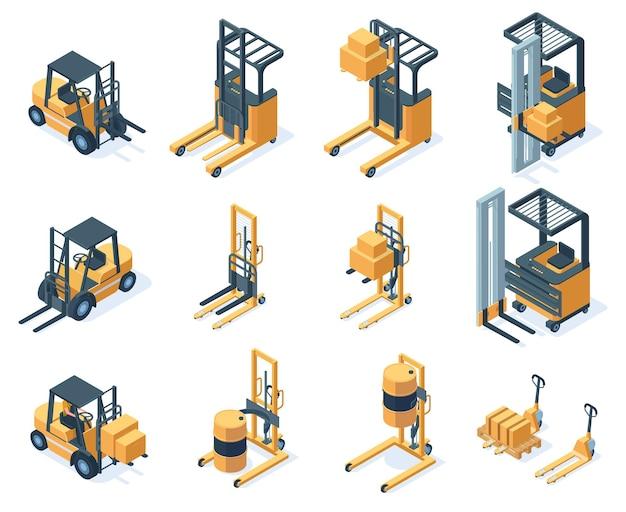 Hydrauliczne wózki widłowe magazynowe izometryczne. sprzęt magazynowy, transport maszyn wózki widłowe wektor zestaw ilustracji. wózki widłowe magazynowe