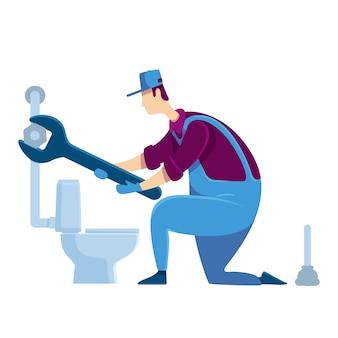 Hydraulik bezbarwny charakter bez twarzy. specjalista w naprawie toalety. złota rączka z kluczem. ulepszenie domu handyperson naprawia rurociąg. dom napraw kreskówki odosobniona ilustracja