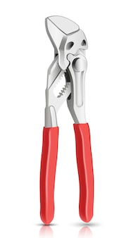 Hydraulik klucz główny instrument z czerwonymi uchwytami. na białym tle.