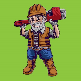 Hydraulik maskotka ilustracja