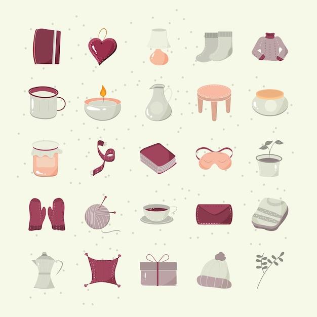Hygge kreskówka książka serce świeca sweter kapelusz rękawiczki poduszki ikony zestaw ilustracji wektorowych