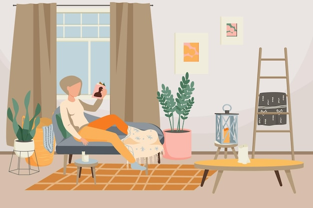 Hygge lifestyle płaska kompozycja z relaksującą kobietą i stylowym wnętrzem salonu z meblami dekoracyjnymi