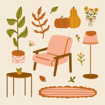 Hygge nastrój wystrój wnętrza krzesło lampa podłogowa dywan stół wazon kwiat liść roślina domowa dynia ilustracja z jesiennym domem przytulne elementy styl skandynawski